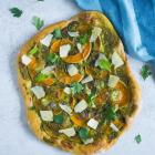 Pizza med græskar og hjemmelavet persillepesto