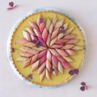 Frangipane tærte med lakrids, amber ganache og bagte rabarber