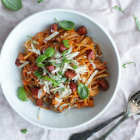 Spaghetti med tomatsovs og chorizo
