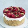 Cheesecake med hindbær,  lakrids og karamelganache