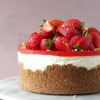 Jordbær cheesecake med amber ganache